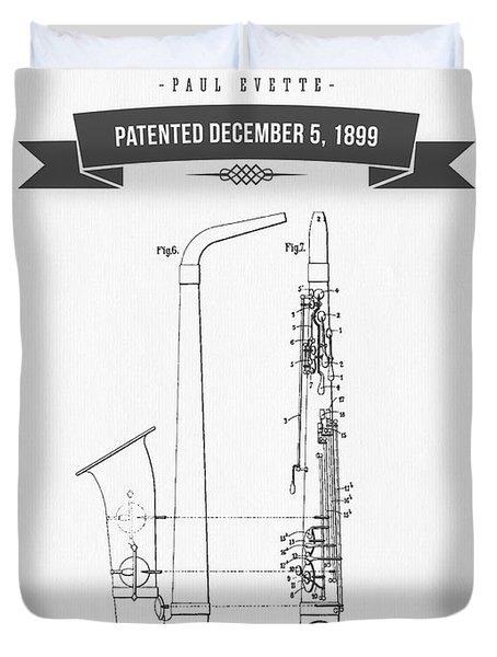 1899 Saxophone Patent Drawing Duvet Cover by Aged Pixel
