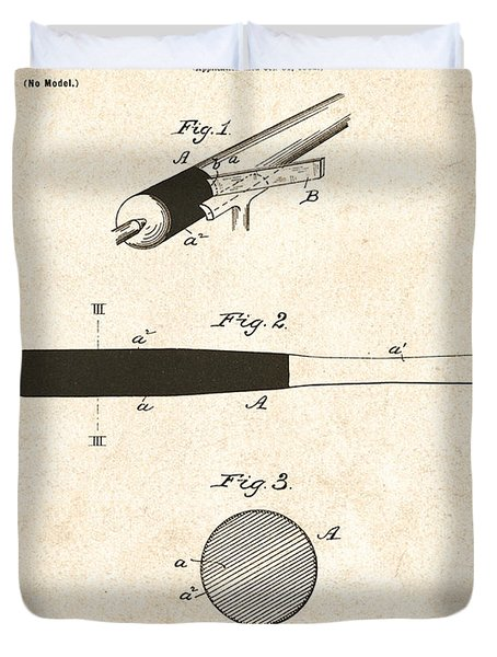 1902 Baseball Bat Patent Duvet Cover by Digital Reproductions