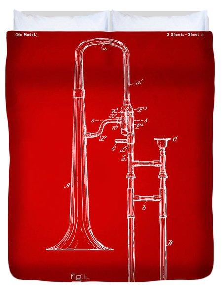 1902 Slide Trombone Patent Artwork Red Duvet Cover by Nikki Marie Smith