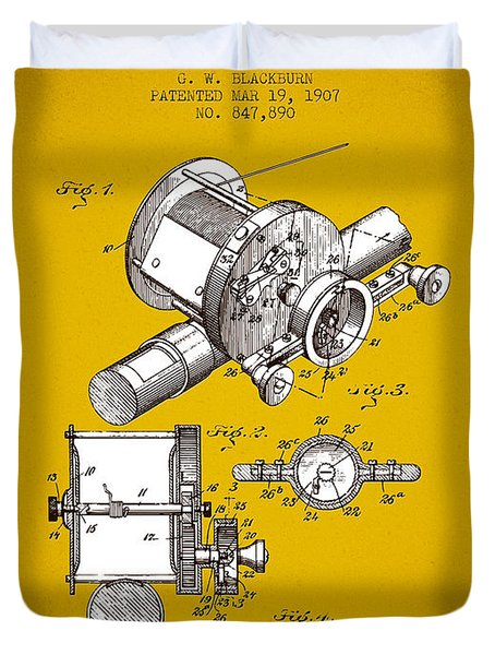 1907 Fishing Reel Patent - Yellow Brown Duvet Cover by Aged Pixel