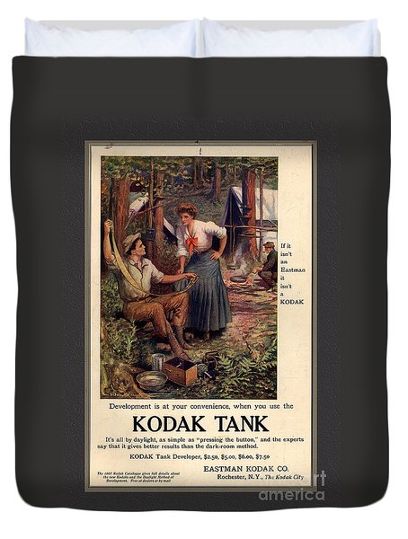 1907 Vintage Kodak Tank Advertising Duvet Cover by Anne Kitzman