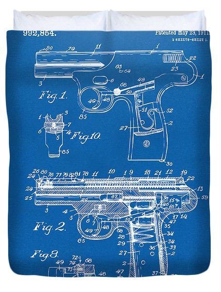 1911 Automatic Firearm Patent Artwork - Blueprint Duvet Cover by Nikki Marie Smith