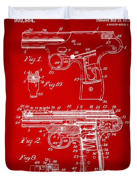 1911 Automatic Firearm Patent Artwork - Red Duvet Cover by Nikki Marie Smith