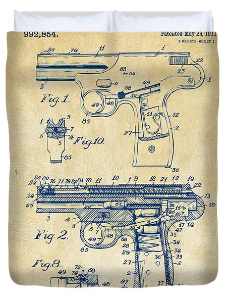 1911 Automatic Firearm Patent Artwork - Vintage Duvet Cover by Nikki Marie Smith