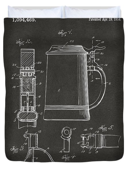 1914 Beer Stein Patent Artwork - Gray Duvet Cover by Nikki Marie Smith