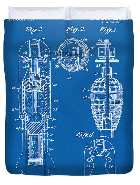 1921 Explosive Missle Patent Blueprint Duvet Cover by Nikki Marie Smith