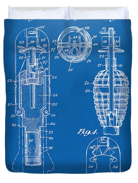 1921 Explosive Missle Patent Minimal Blueprint Duvet Cover by Nikki Marie Smith