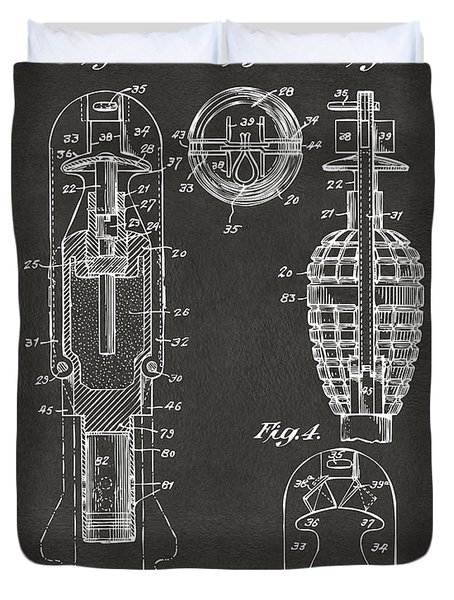 1921 Explosive Missle Patent Minimal Gray Duvet Cover by Nikki Marie Smith