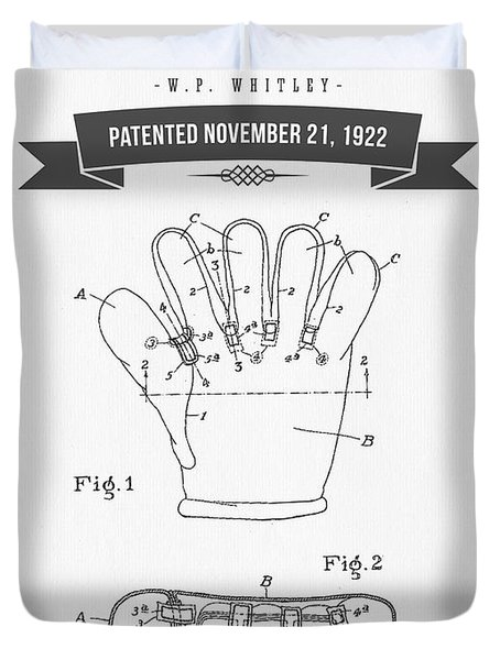 1922 Baseball Glove Patent Drawing Duvet Cover by Aged Pixel