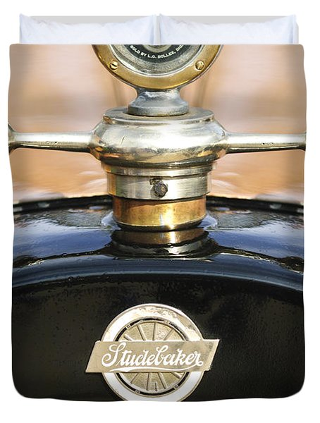 1922 Studebaker Touring Hood Ornament Duvet Cover by Jill Reger