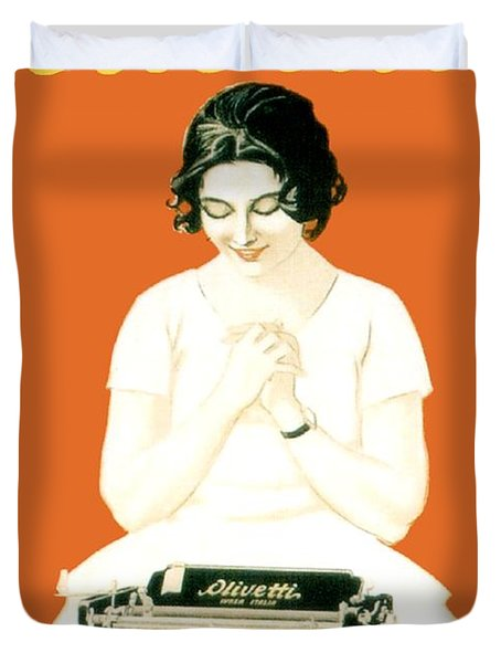 1924 - Olivetti Typewriter Advertisement Poster - Color Duvet Cover by John Madison