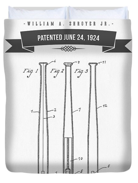 1924 Baseball Bat Patent Drawing Duvet Cover by Aged Pixel