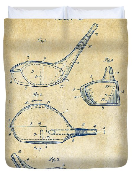 1926 Golf Club Patent Artwork - Vintage Duvet Cover by Nikki Marie Smith