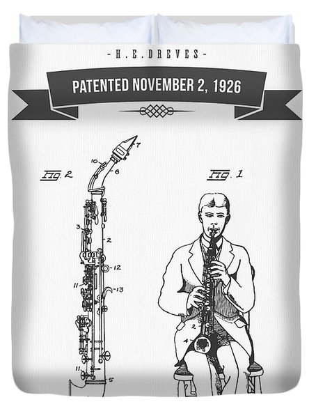1926 Soprano Saxophone Patent Drawing Duvet Cover by Aged Pixel