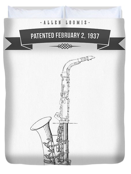 1937 Saxophone Patent Drawing Duvet Cover by Aged Pixel