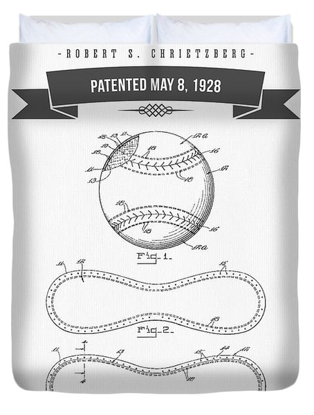 1928 Baseball Patent Drawing Duvet Cover by Aged Pixel