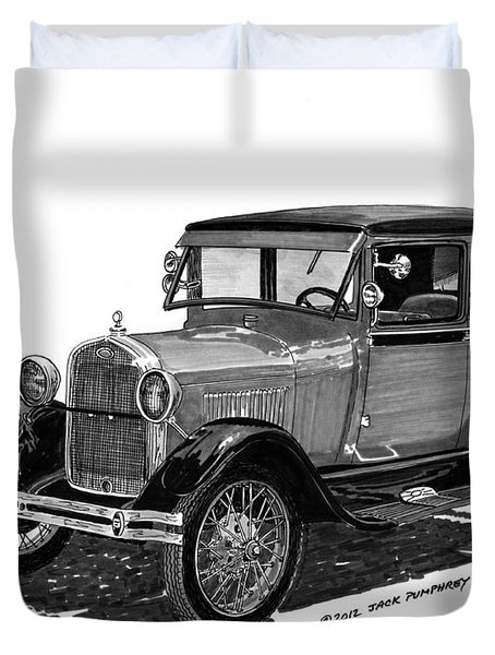1928 Model A Ford 2 dr Sedan Duvet Cover by Jack Pumphrey