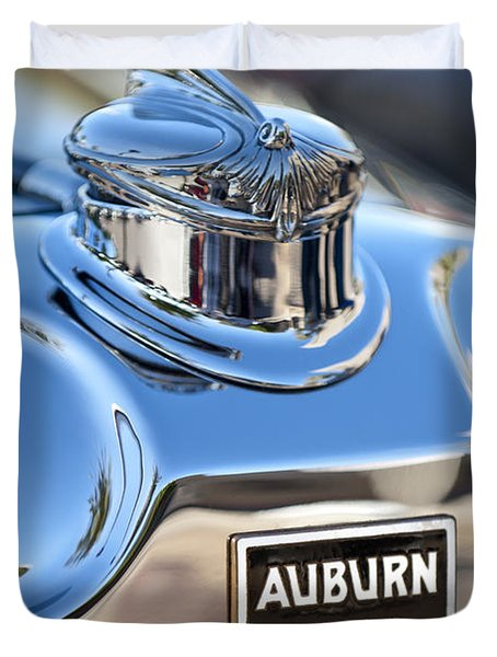 1929 Auburn 8-90 Speedster Hood Ornament Duvet Cover by Jill Reger