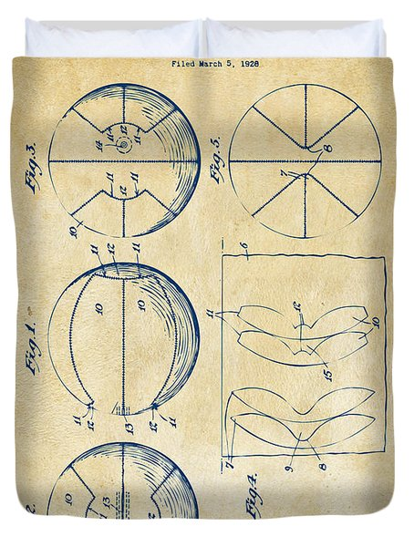 1929 Basketball Patent Artwork - Vintage Duvet Cover by Nikki Marie Smith