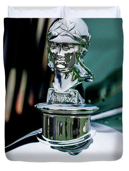 1929 Minerva Hood Ornament Duvet Cover by Jill Reger