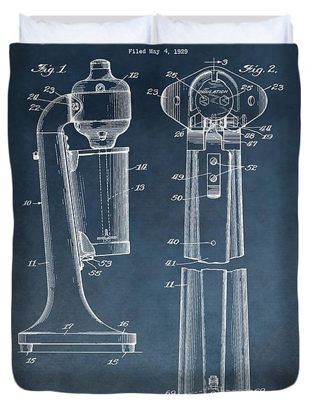1930 Drink Mixer Patent Blue Duvet Cover by Dan Sproul