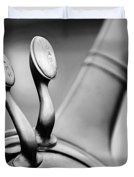 1931 Lincoln K Steering Wheel - Spark - Gas Controls -1865bw Duvet Cover by Jill Reger