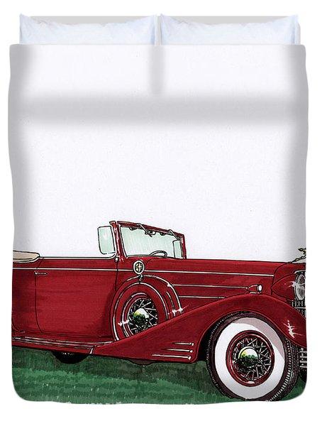 1933 Cadillac Convert Victoria Duvet Cover by Jack Pumphrey