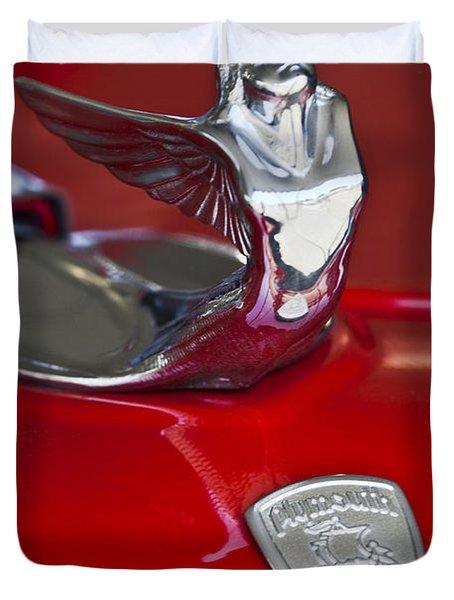 1933 Plymouth Hood Ornament Duvet Cover by Jill Reger