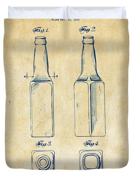 1934 Beer Bottle Patent Artwork - Vintage Duvet Cover by Nikki Marie Smith