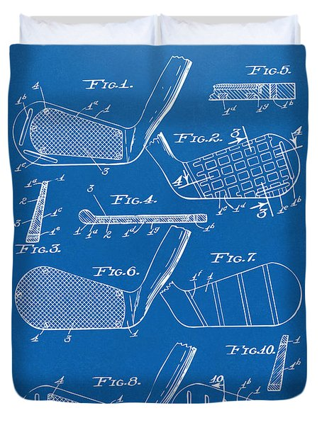 1936 Golf Club Patent Blueprint Duvet Cover by Nikki Marie Smith