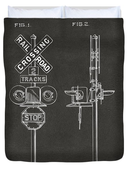 1936 Rail Road Crossing Sign Patent Artwork - Gray Duvet Cover by Nikki Marie Smith