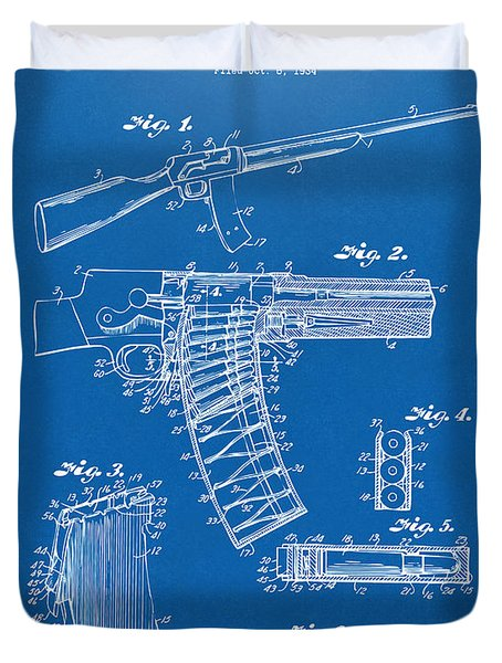 1937 Police Remington Model 8 Magazine Patent Artwork - Blueprin Duvet Cover by Nikki Marie Smith