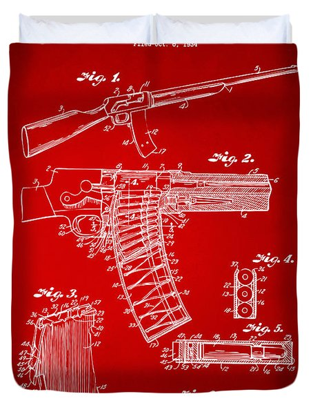 1937 Police Remington Model 8 Magazine Patent Artwork - Red Duvet Cover by Nikki Marie Smith
