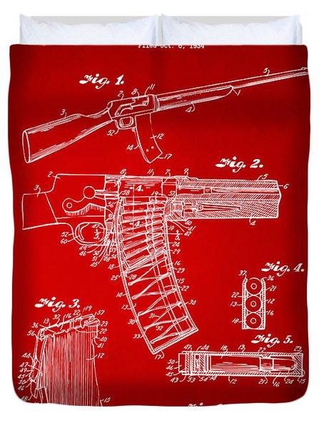 1937 Police Remington Model 8 Magazine Patent Artwork - Red Duvet Cover by Nikki Marie Smith