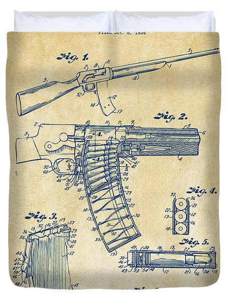 1937 Police Remington Model 8 Magazine Patent Artwork - Vintage Duvet Cover by Nikki Marie Smith