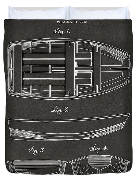 1938 Rowboat Patent Artwork - Gray Duvet Cover by Nikki Marie Smith