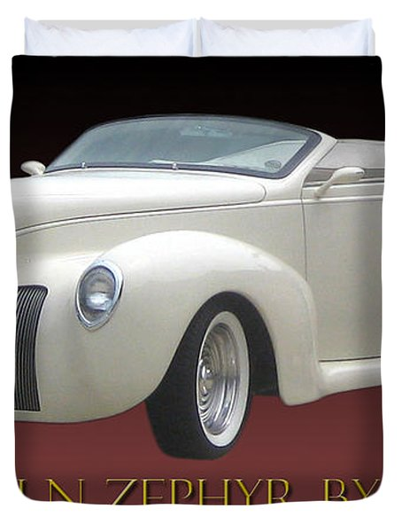 1939 Lincoln Zephyr Poster Duvet Cover by Jack Pumphrey