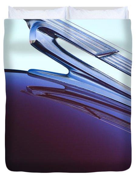 1940 Chevrolet Hood Ornament Duvet Cover by Jill Reger