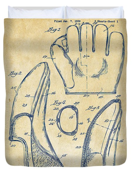 1941 Baseball Glove Patent - Vintage Duvet Cover by Nikki Marie Smith