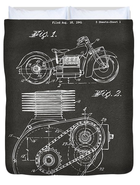 1941 Indian Motorcycle Patent Artwork - Gray Duvet Cover by Nikki Marie Smith