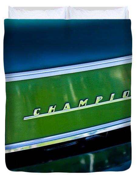 1941 Sudebaker Champion Coupe Emblem Duvet Cover by Jill Reger