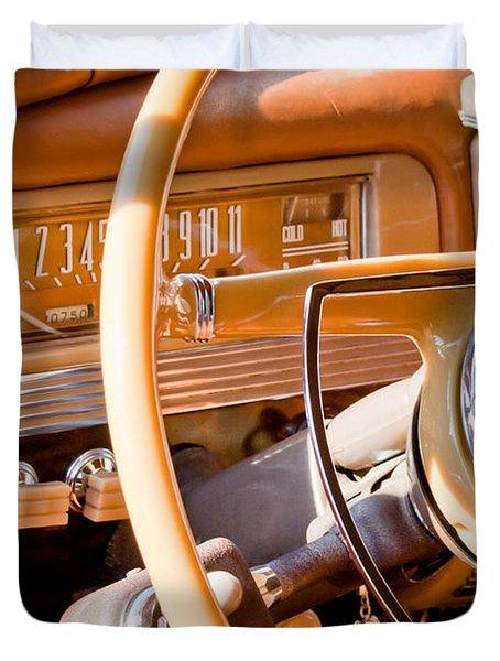 1942 Packard Darrin Convertible Victoria Steering Wheel Duvet Cover by Jill Reger
