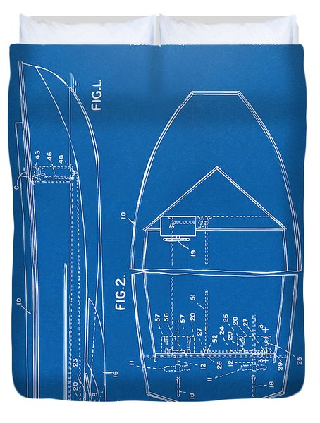 1943 Chris Craft Boat Patent Blueprint Duvet Cover by Nikki Marie Smith