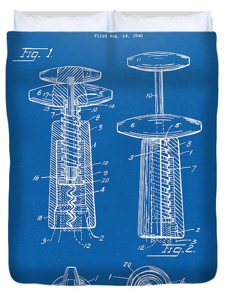 1944 Wine Corkscrew Patent Artwork - Blueprint Duvet Cover by Nikki Marie Smith