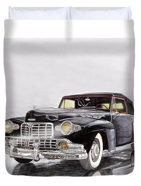 1946 Lincoln Continental Convertible Foggy Reflection Duvet Cover by Jack Pumphrey