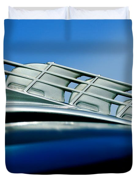 1946 Plymouth Hood Ornament Duvet Cover by Jill Reger