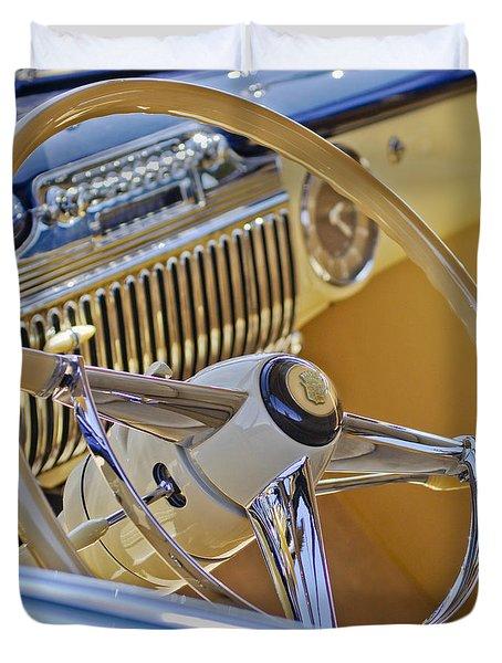 1947 Cadillac 62 Steering Wheel Duvet Cover by Jill Reger