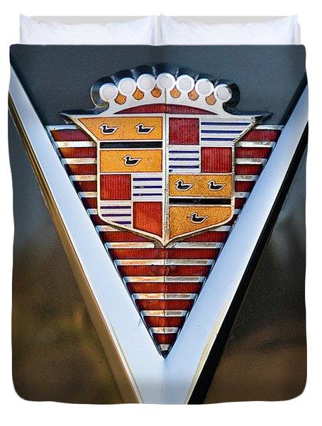 1947 Cadillac Emblem Duvet Cover by Jill Reger