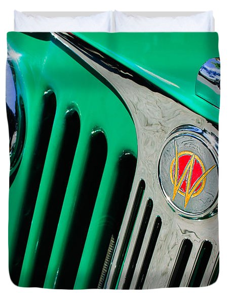 1949 Willys Jeep Station Wagon Grille Emblem Duvet Cover by Jill Reger