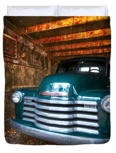 1950 Chevy Truck Duvet Cover by Debra and Dave Vanderlaan